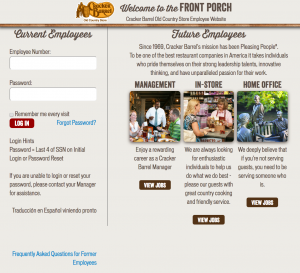 cracker barrel employees login help